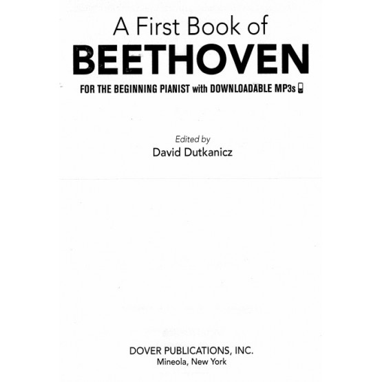 A First Book of Beethoven for the Beginning Pianist