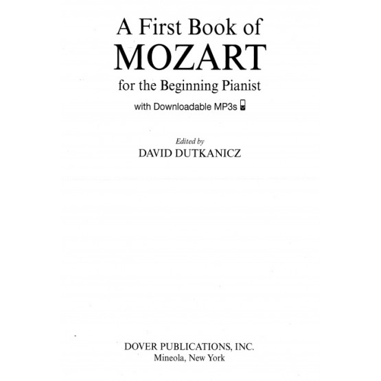 A First Book of Mozart for the Beginning Pianist