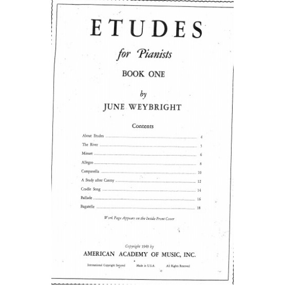 ETUDES for Pianists BOOK ONE